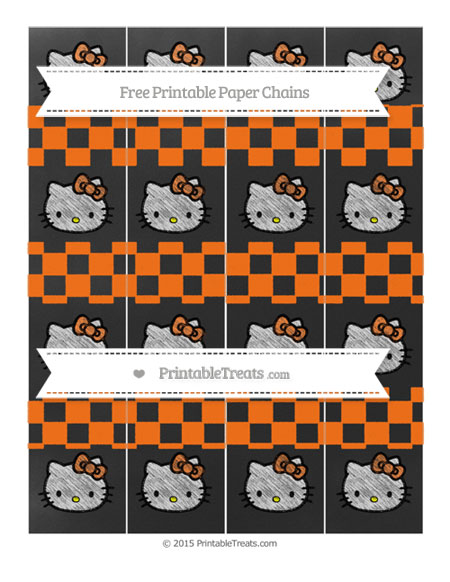 Free Pumpkin Orange Checker Pattern Chalk Style Hello Kitty Paper Chains