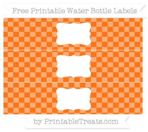 Free Pumpkin Orange Checker Pattern Water Bottle Labels