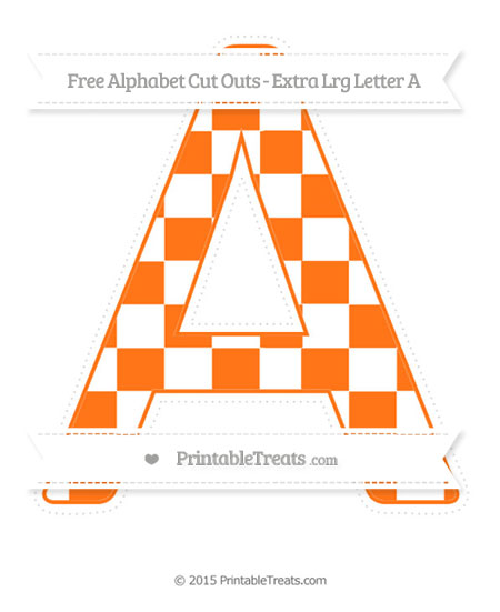 Free Pumpkin Orange Checker Pattern Extra Large Capital Letter A Cut Outs