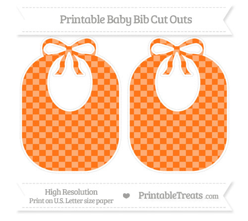 Free Pumpkin Orange Checker Pattern Large Baby Bib Cut Outs