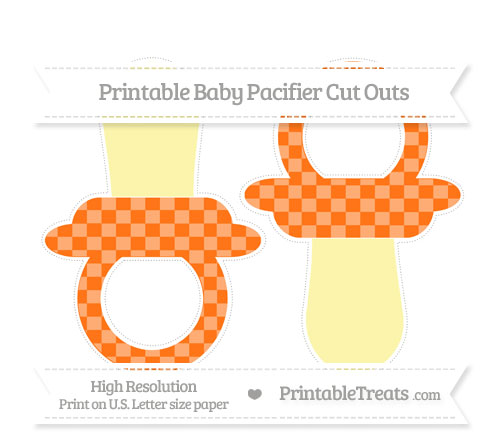 Free Pumpkin Orange Checker Pattern Large Baby Pacifier Cut Outs