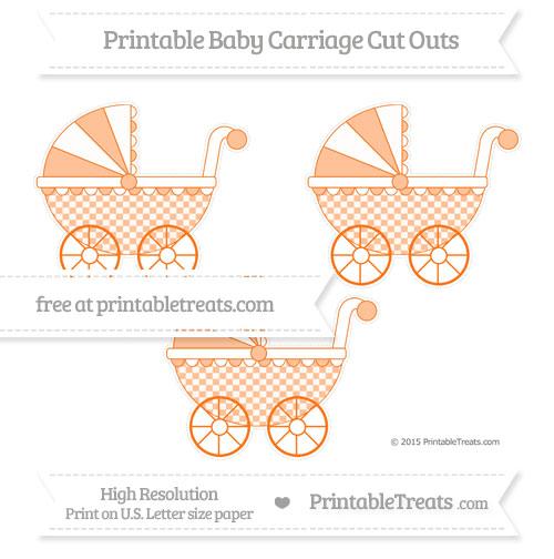Free Pumpkin Orange Checker Pattern Medium Baby Carriage Cut Outs