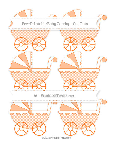 Free Pumpkin Orange Checker Pattern Small Baby Carriage Cut Outs