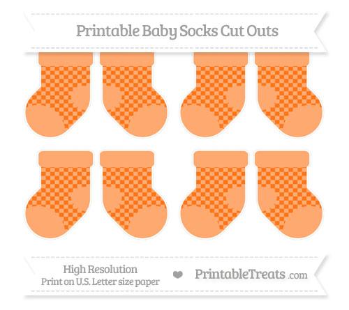 Free Pumpkin Orange Checker Pattern Small Baby Socks Cut Outs