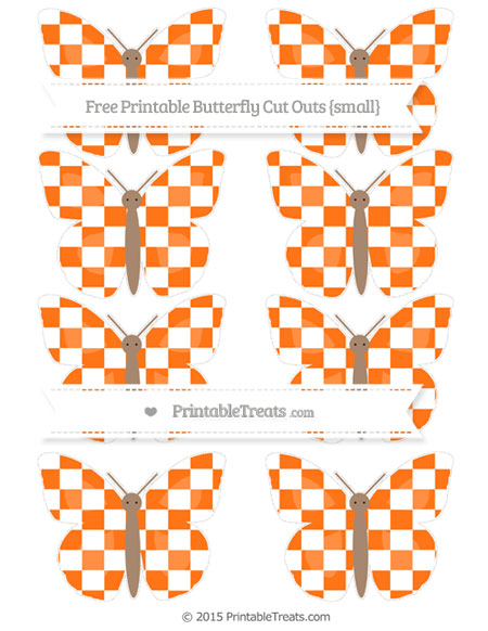 Free Pumpkin Orange Checker Pattern Small Butterfly Cut Outs