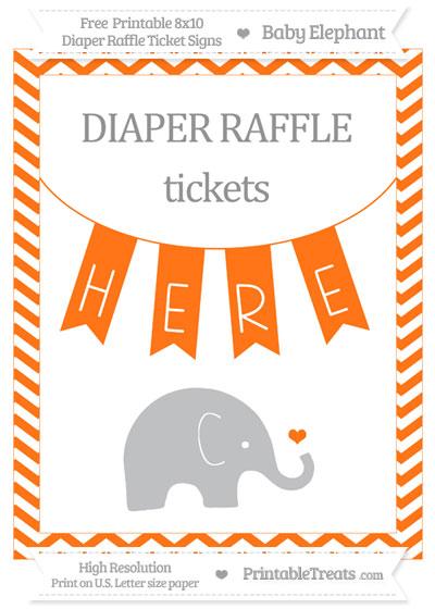 Free Pumpkin Orange Chevron Baby Elephant 8x10 Diaper Raffle Ticket Sign