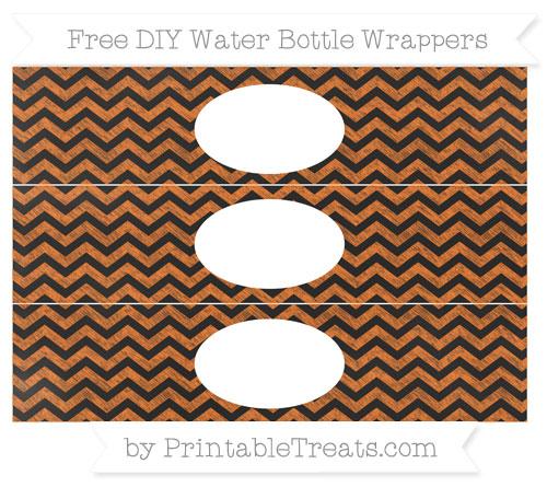 Free Pumpkin Orange Chevron Chalk Style DIY Water Bottle Wrappers