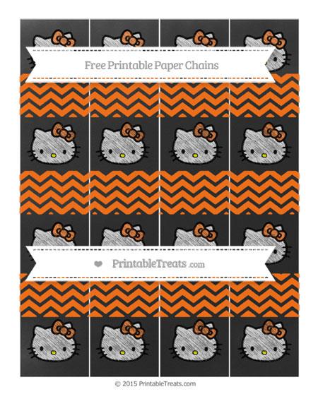 Free Pumpkin Orange Chevron Chalk Style Hello Kitty Paper Chains