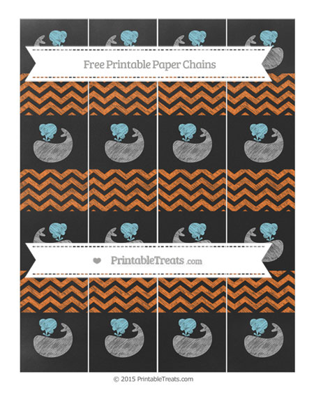 Free Pumpkin Orange Chevron Chalk Style Whale Paper Chains
