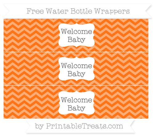 Free Pumpkin Orange Chevron Welcome Baby Water Bottle Wrappers