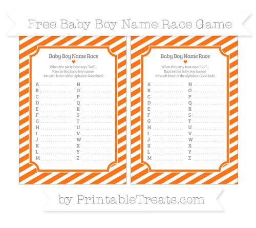Free Pumpkin Orange Diagonal Striped Baby Boy Name Race Game