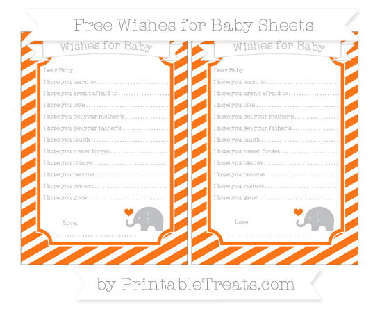 Free Pumpkin Orange Diagonal Striped Baby Elephant Wishes for Baby Sheets