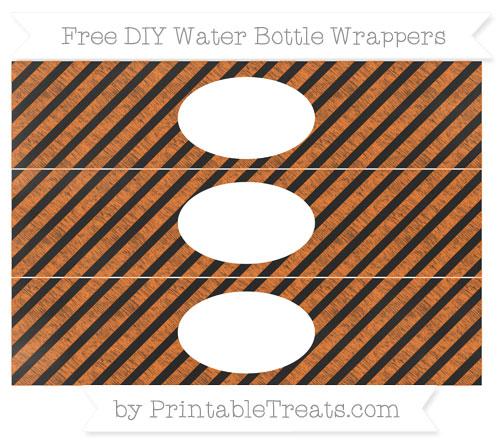 Free Pumpkin Orange Diagonal Striped Chalk Style DIY Water Bottle Wrappers
