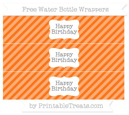Free Pumpkin Orange Diagonal Striped Happy Birhtday Water Bottle Wrappers