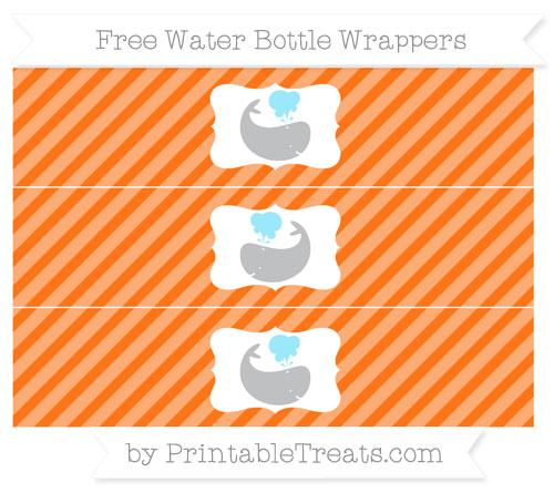 Free Pumpkin Orange Diagonal Striped Whale Water Bottle Wrappers