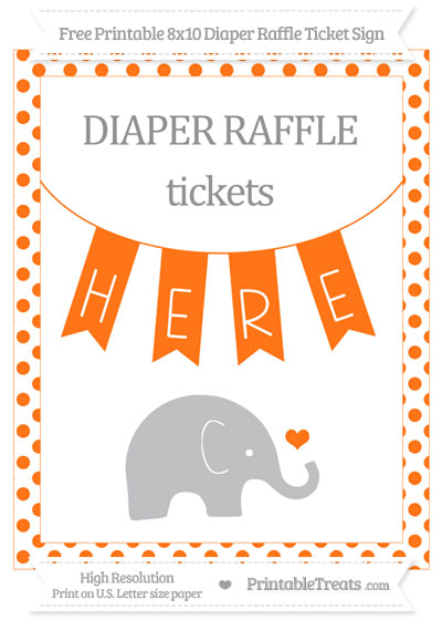 Free Pumpkin Orange Dotted Baby Elephant 8x10 Diaper Raffle Ticket Sign