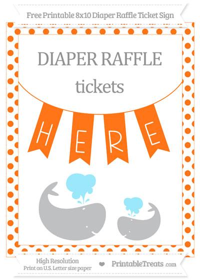 Free Pumpkin Orange Dotted Baby Whale 8x10 Diaper Raffle Ticket Sign