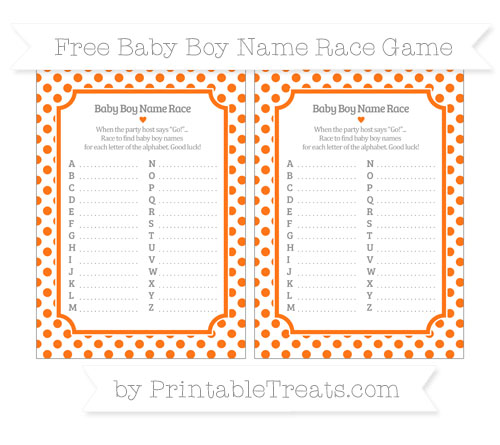 Free Pumpkin Orange Dotted Pattern Baby Boy Name Race Game