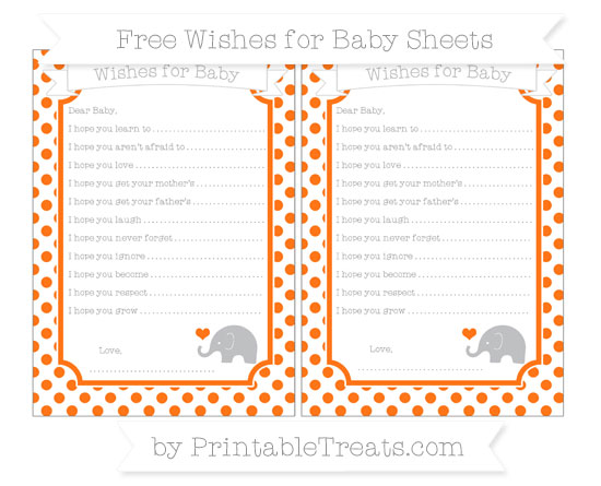 Free Pumpkin Orange Dotted Pattern Baby Elephant Wishes for Baby Sheets