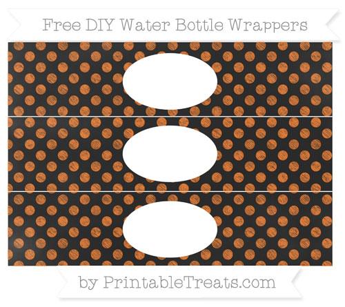 Free Pumpkin Orange Dotted Pattern Chalk Style DIY Water Bottle Wrappers