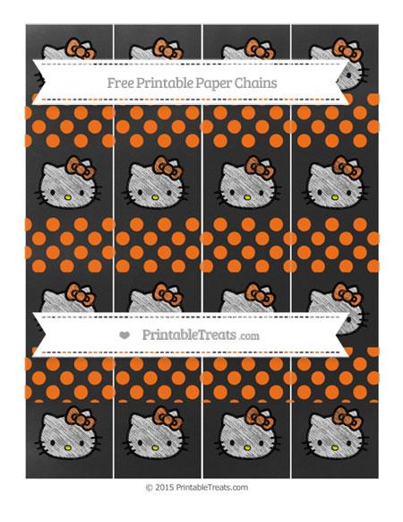 Free Pumpkin Orange Dotted Pattern Chalk Style Hello Kitty Paper Chains