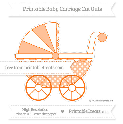 Free Pumpkin Orange Dotted Pattern Extra Large Baby Carriage Cut Outs