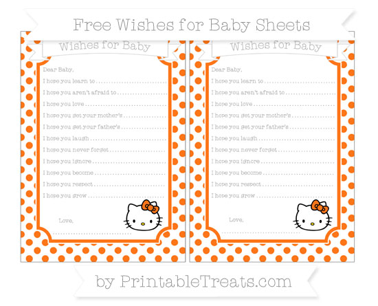 Free Pumpkin Orange Dotted Pattern Hello Kitty Wishes for Baby Sheets