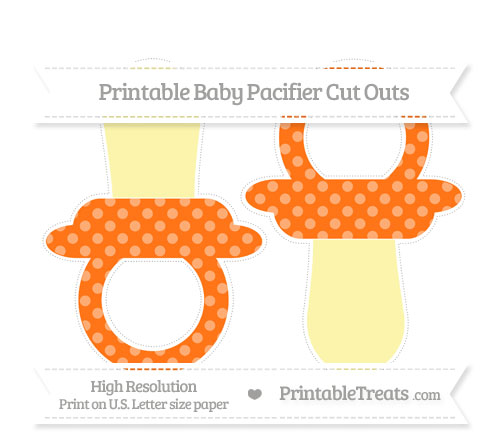 Free Pumpkin Orange Dotted Pattern Large Baby Pacifier Cut Outs