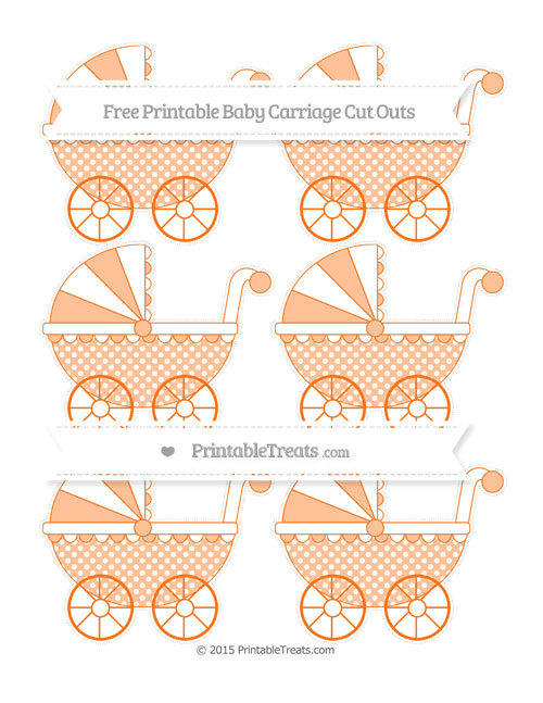 Free Pumpkin Orange Dotted Pattern Small Baby Carriage Cut Outs
