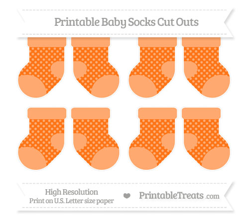 Free Pumpkin Orange Dotted Pattern Small Baby Socks Cut Outs