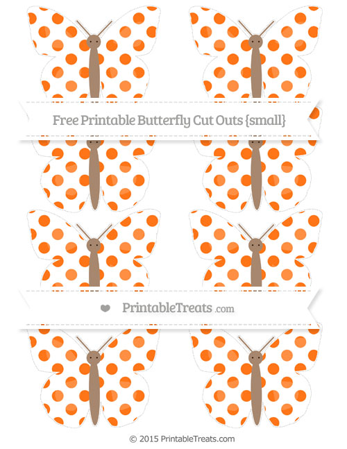 Free Pumpkin Orange Dotted Pattern Small Butterfly Cut Outs