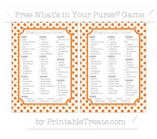 Free Pumpkin Orange Dotted Pattern What's in Your Purse Baby Shower Game