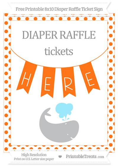 Free Pumpkin Orange Dotted Whale 8x10 Diaper Raffle Ticket Sign