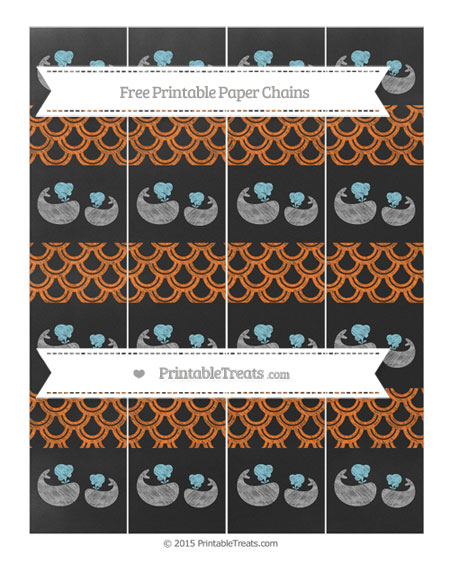 Free Pumpkin Orange Fish Scale Pattern Chalk Style Baby Whale Paper Chains