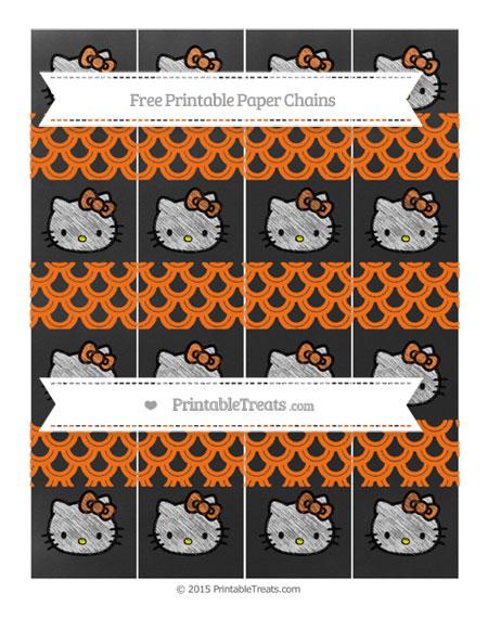 Free Pumpkin Orange Fish Scale Pattern Chalk Style Hello Kitty Paper Chains