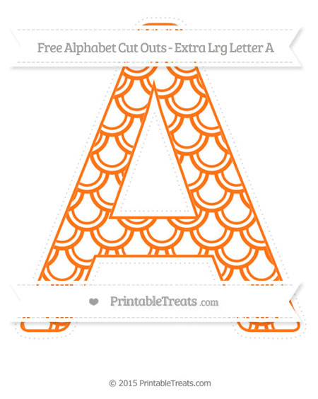 Free Pumpkin Orange Fish Scale Pattern Extra Large Capital Letter A Cut Outs