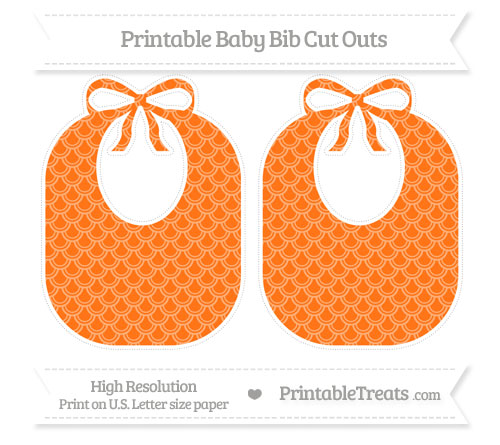 Free Pumpkin Orange Fish Scale Pattern Large Baby Bib Cut Outs