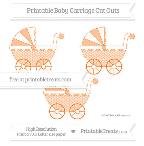 Free Pumpkin Orange Fish Scale Pattern Medium Baby Carriage Cut Outs