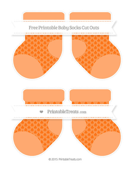 Free Pumpkin Orange Fish Scale Pattern Medium Baby Socks Cut Outs