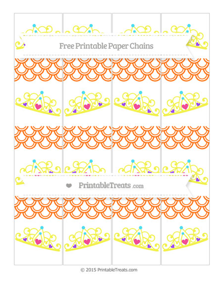 Free Pumpkin Orange Fish Scale Pattern Princess Tiara Paper Chains