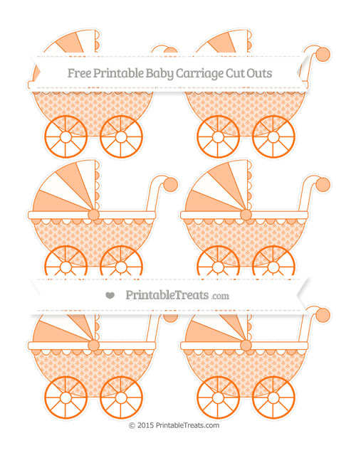 Free Pumpkin Orange Fish Scale Pattern Small Baby Carriage Cut Outs