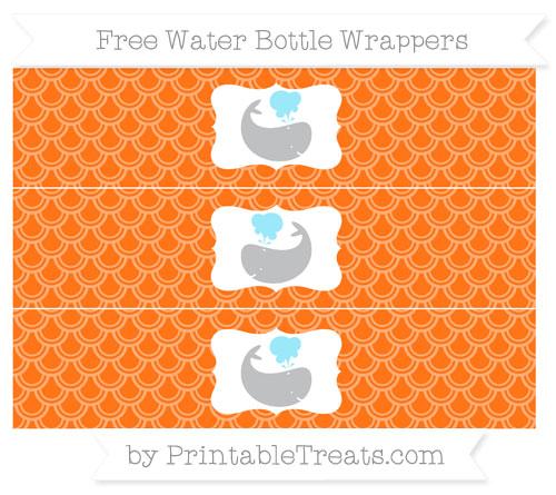 Free Pumpkin Orange Fish Scale Pattern Whale Water Bottle Wrappers