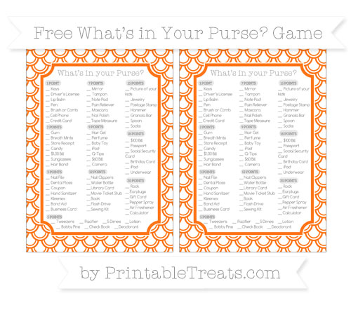 Free Pumpkin Orange Fish Scale Pattern What's in Your Purse Baby Shower Game