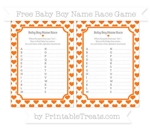 Free Pumpkin Orange Heart Pattern Baby Boy Name Race Game