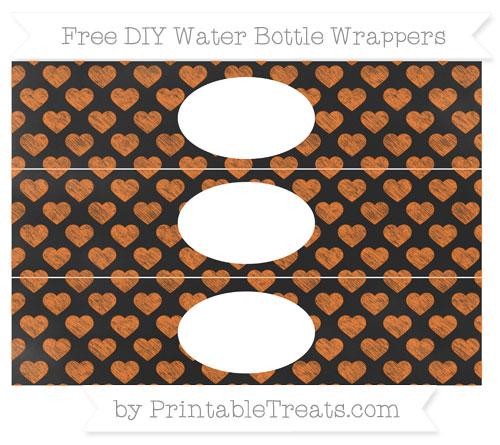 Free Pumpkin Orange Heart Pattern Chalk Style DIY Water Bottle Wrappers