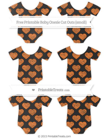 Free Pumpkin Orange Heart Pattern Chalk Style Small Baby Onesie Cut Outs