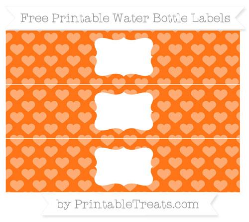 Free Pumpkin Orange Heart Pattern Water Bottle Labels