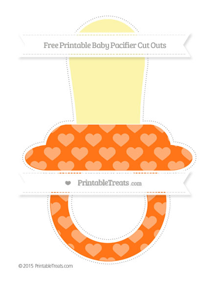 Free Pumpkin Orange Heart Pattern Extra Large Baby Pacifier Cut Outs