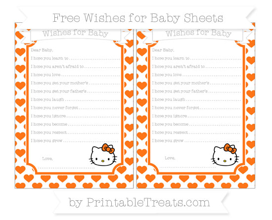 Free Pumpkin Orange Heart Pattern Hello Kitty Wishes for Baby Sheets