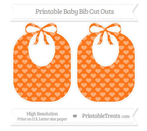 Free Pumpkin Orange Heart Pattern Large Baby Bib Cut Outs